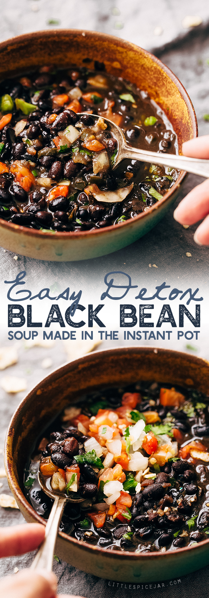 Instant Pot Easy Detoxing Black Bean Soup - a super simple homemade soup made in the pressure cooker! Great for bagged lunches because it's better as it sits! #spicyblackbeansoup #blackbeansoup #detoxsoup #detoxingsoup   Littlespicejar.com