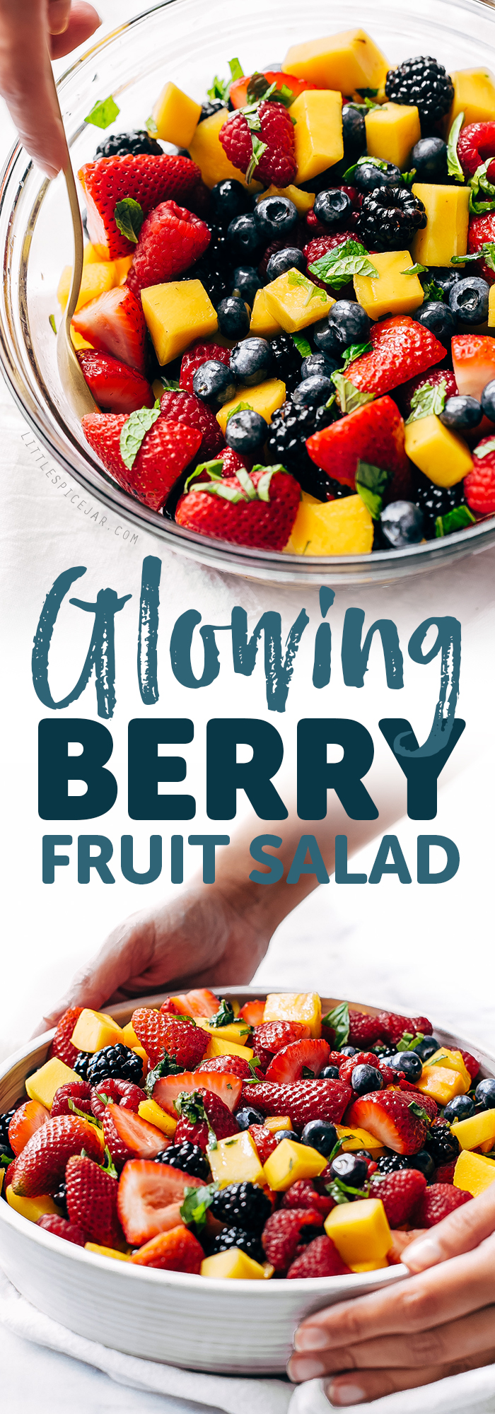 Glowing Berry Fruit Salad - an easy fruit salad that you can bring to picnics, barbecues, brunches and so much more! #fruitsalad #berrysalad #berryfruitsalad #picnic #salad | Littlespicejar.com