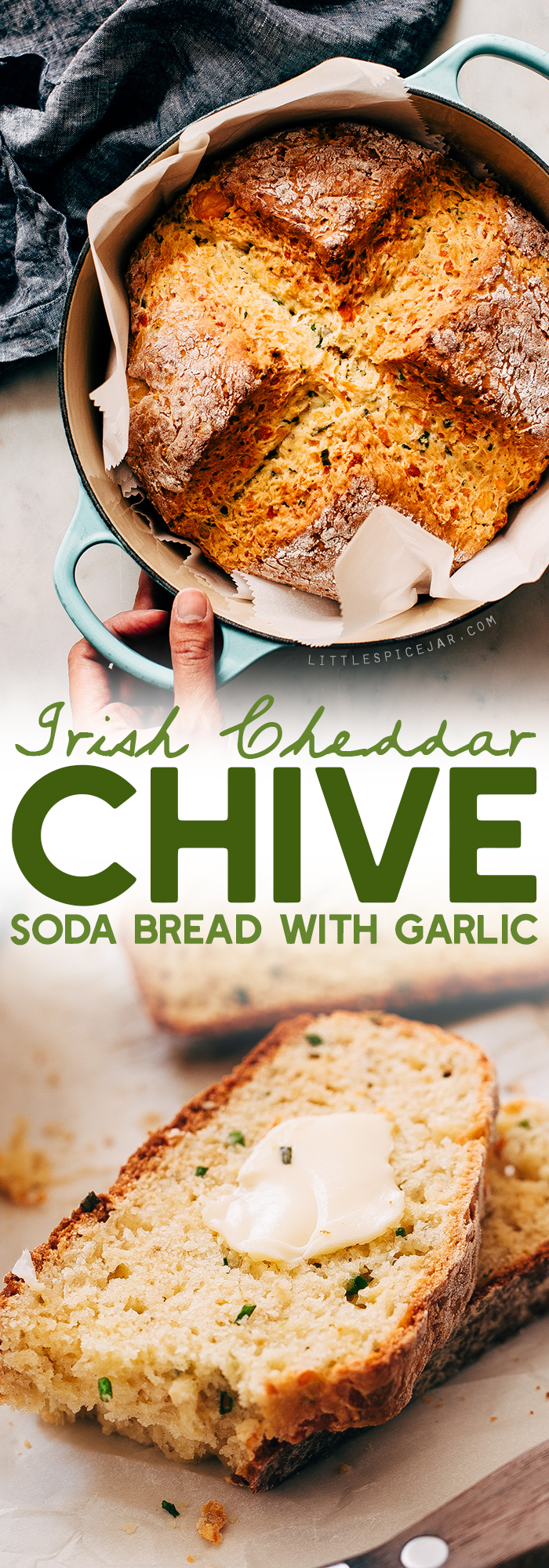 Garlic Irish Cheddar Chive Soda Bread - learn how to make a savory soda bread! This recipe is easy and takes just 10 minutes of hands on time! #cheddarsodabread #chivesodabread #garlicsodabread #irishsodabread #sodabread | Littlespicejar.com