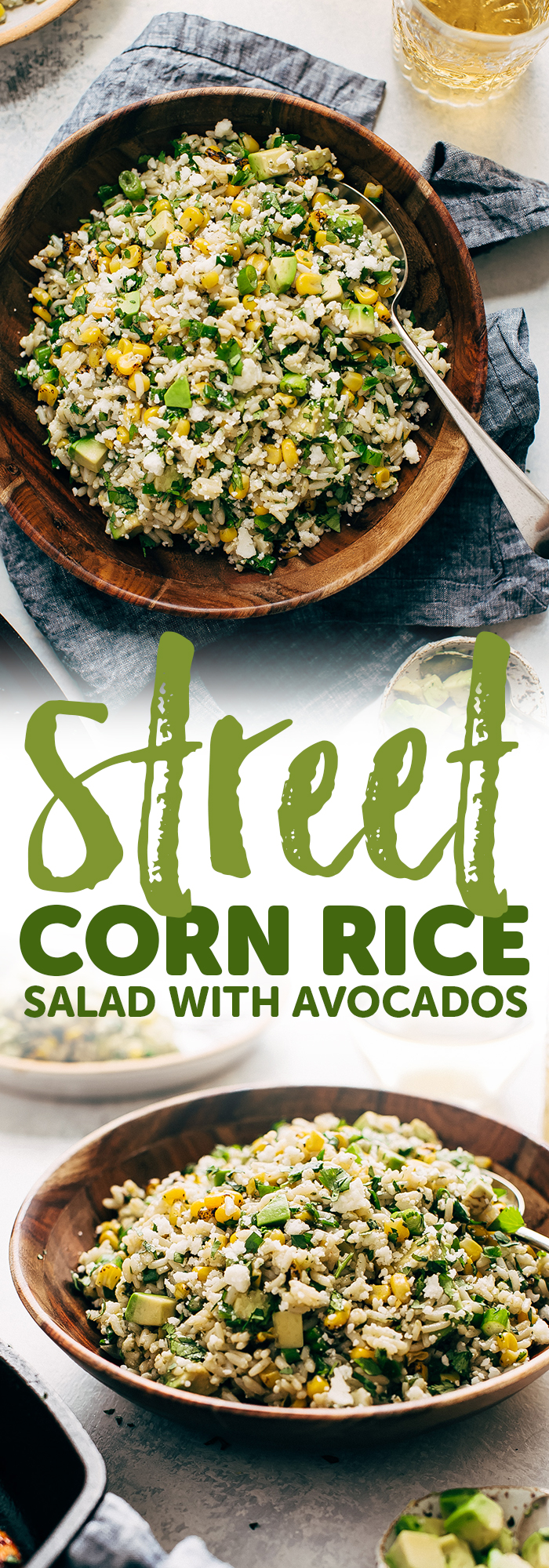 Street Corn Rice Salad with Avocados - the easiest salad you can take to a picnic or barbecue party this summer! My corn salad uses leftover cooked rice and is loaded with an easy to make lemon lime dressing! #streetcornsalad #mexicanstreetcorn #elotessalad #cornricesalad #elotes | Littlespicejar.com