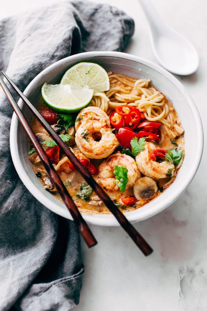 Creamy Tom Yum Ramen - an easy, weeknight friendly ramen recipe that tastes like your favorite tom yum soup! #ramen #weeknightrecipes #tomyumgoong #tomyumsoup #tomyum   Littlespicejar.com