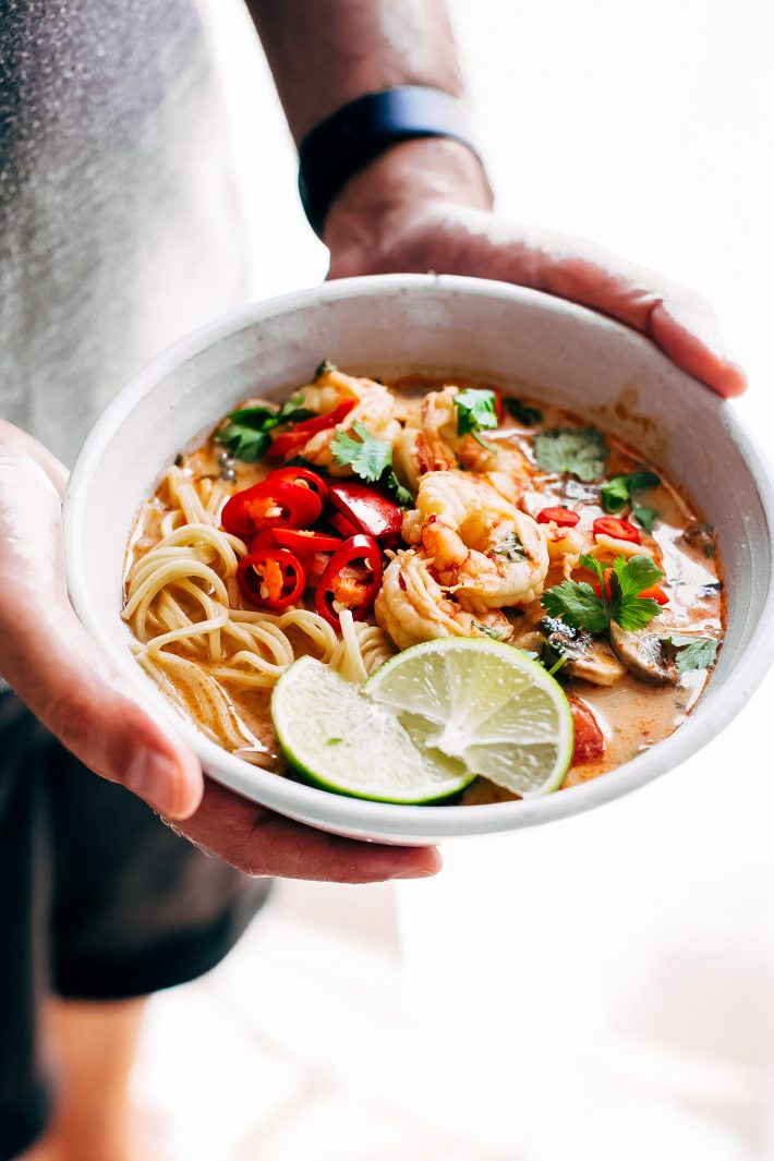 Creamy Tom Yum Ramen - an easy, weeknight friendly ramen recipe that tastes like your favorite tom yum soup! #ramen #weeknightrecipes #tomyumgoong #tomyumsoup #tomyum | Littlespicejar.com