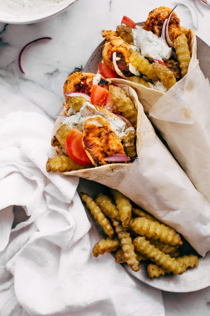 Easy Chicken Gyros with French Fries and Tzatziki Sauce