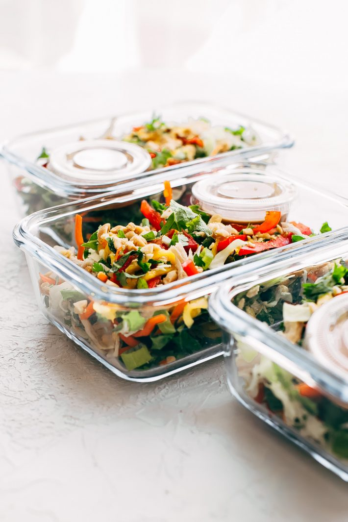 Chopped Thai Chicken Salad with Skinny Peanut Dressing (Meal Prep) - Learn how to prep an easy Thai chicken salad for your weekly lunches! So good and so skinny! #mealprep #choppedthaisalad #chickensalad #thaisalad | Littlespicejar.com