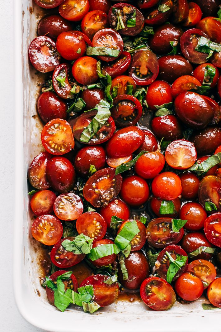 tomatoes in balsamic olive oil tossed with fresh basil