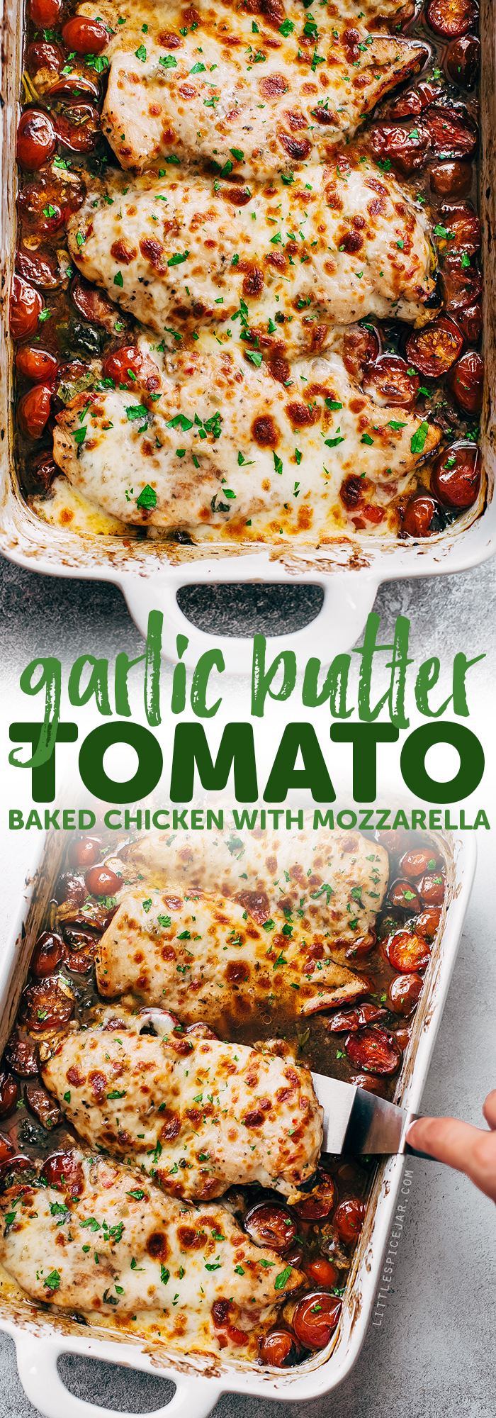 Garlic Butter Tomato Baked Chicken - An easy one dish recipe that requires only a handful of simple ingredients! Easy to prep and ready in NO time! #bakedchicken #chickendinner #chickenrecipes #balsamicbakedchicken #tomatobaked chicken | Littlespicejar.com