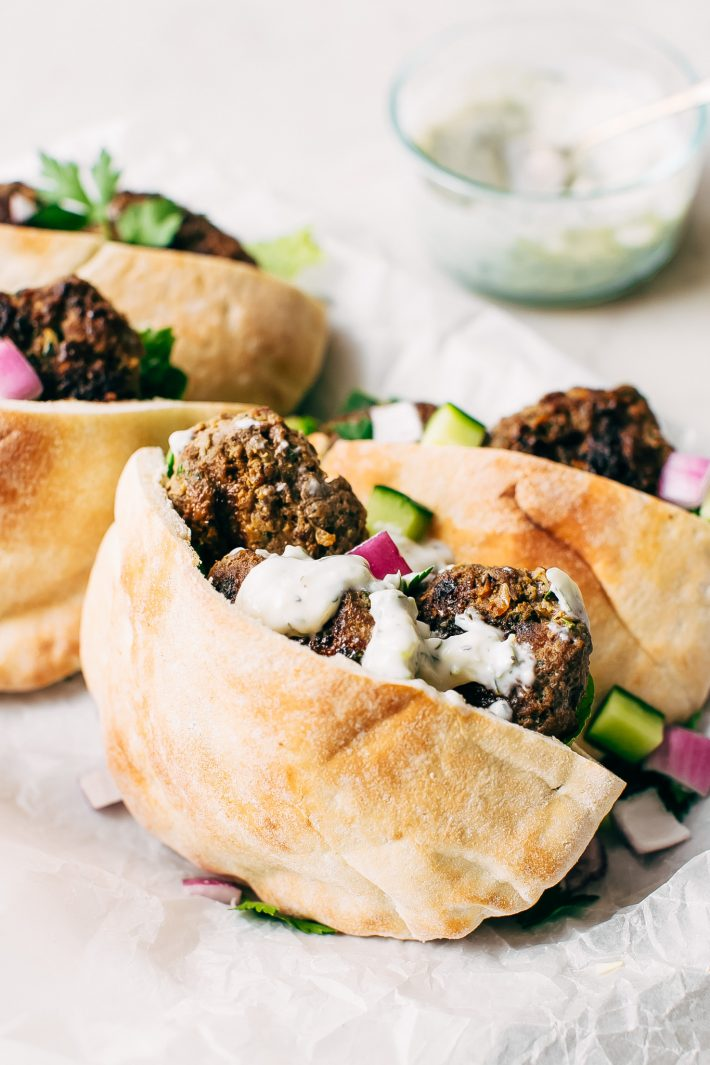Kofta Pita Sandwiches - homemade kofta kabobs made with just a few ingredients and stuffed inside pocket pita bread! These are so good with my homemade garlic tahini sauce! #kofta #koftakabob #koftapitasandwich #naanwich | Littlespicejar.com