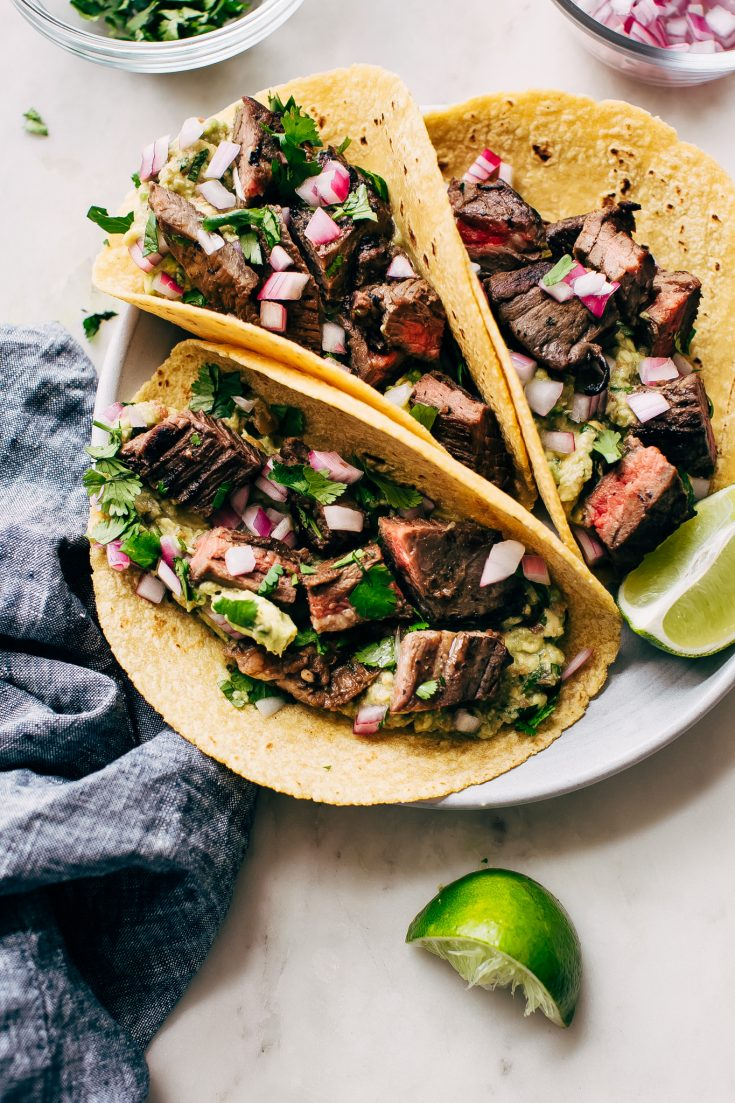Marinated Mojo Steak Tacos with Quick Guac