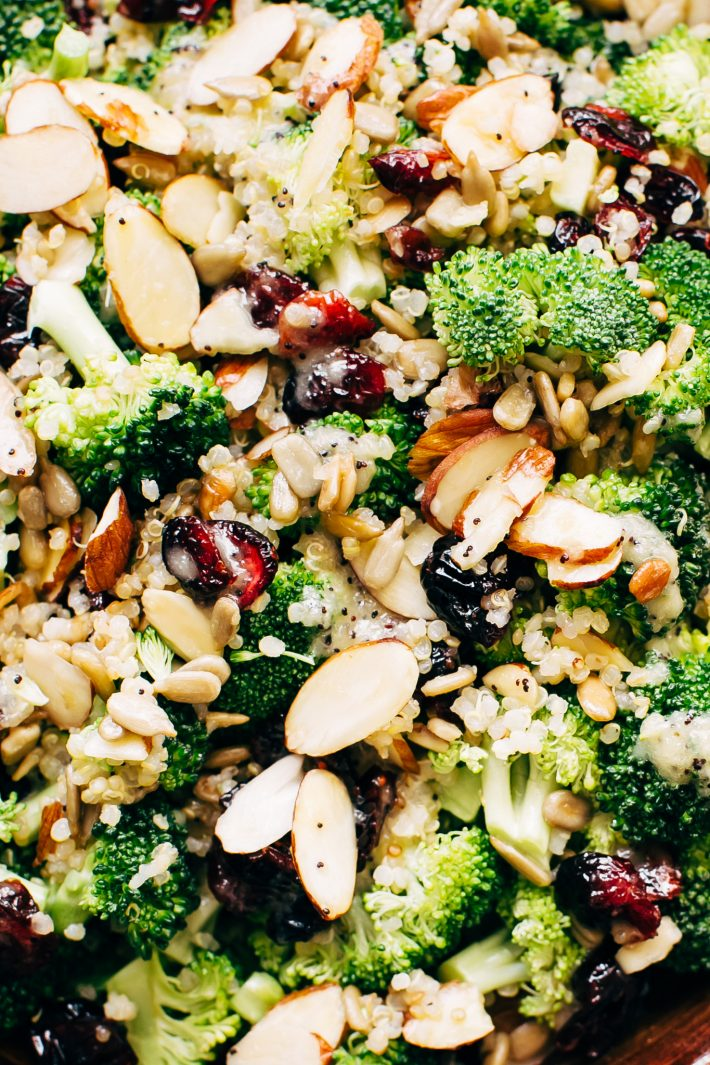 Superfood Broccoli Salad with Poppy Seed Dressing - a simple superfood loaded salad that's filling and nutritious! So good you'll want to make it ALL the time! #broccolisalad #superfoodsalad #salad #powersalad | Littlespicejar.com