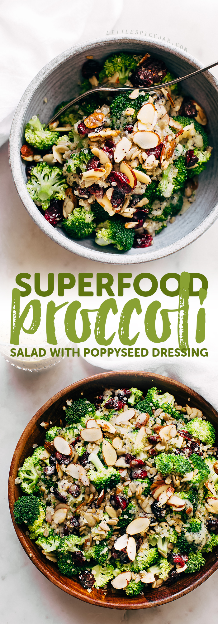 Superfood Broccoli Salad with Poppy Seed Dressing - a simple superfood loaded salad that's filling and nutritious! So good you'll want to make it ALL the time! #broccolisalad #superfoodsalad #salad #powersalad   Littlespicejar.com