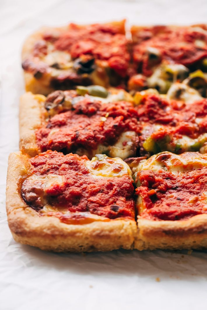 Supreme Detroit-Style Pizza - Homemade Detroit-Style pizza with the best crispy, butter dough! It's almost like focaccia bread with pizza toppings on top! #detroitpizza #detroitstylepizza #homemadepizza #pizza   Littlespicejar.com