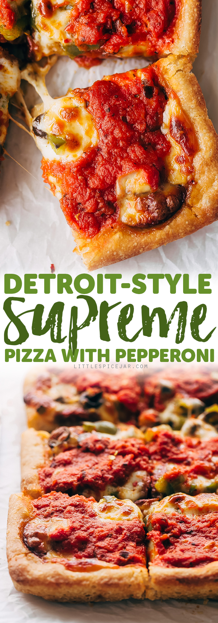 Supreme Detroit-Style Pizza - Homemade Detroit-Style pizza with the best crispy, butter dough! It's almost like focaccia bread with pizza toppings on top! #detroitpizza #detroitstylepizza #homemadepizza #pizza | Littlespicejar.com