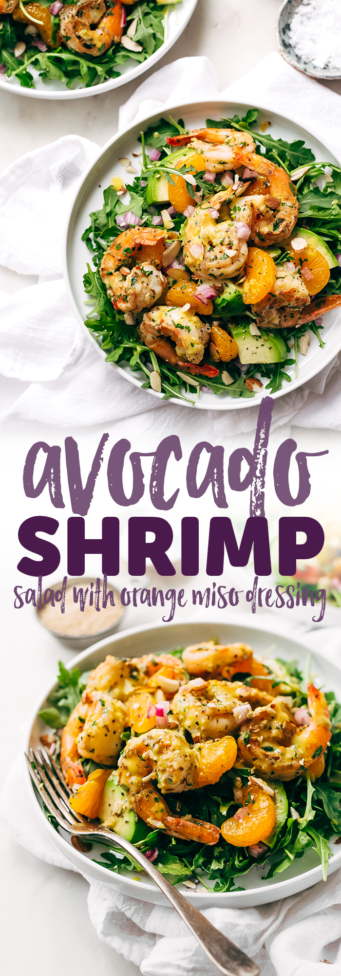 Avocado Shrimp Salad with Citrus Miso Dressing - learn how to make a quick and easy shrimp salad loaded with tons avocados, mandarin oranges, and sliced almonds! #shrimpsalad #salad #lowcarb #avocadoshrimpsalad | Littlespicejar.com