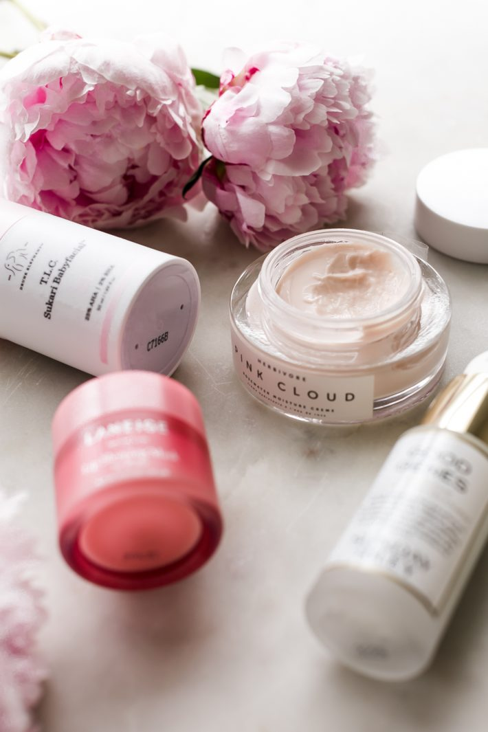 peonies and skin care products