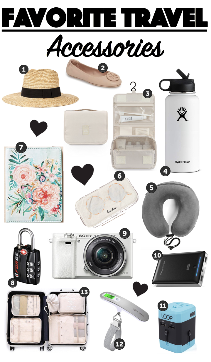 long image with various items showing favorite travel accessories