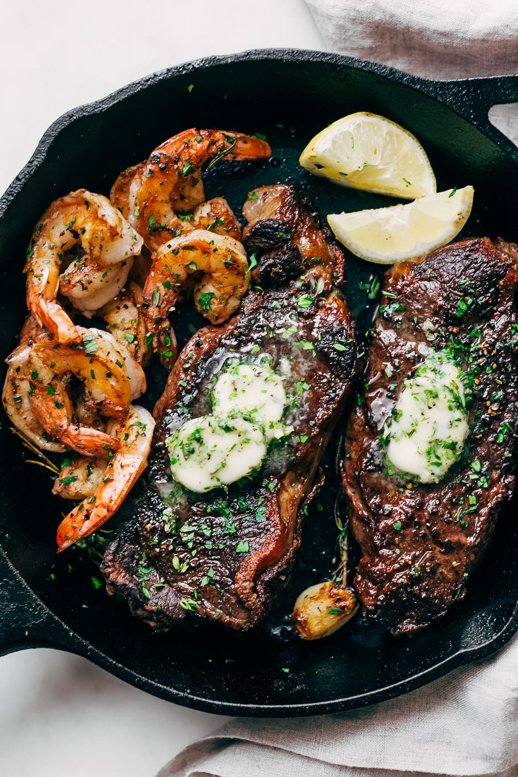 Garlic Butter Skillet Steak And Shrimp Recipe Little