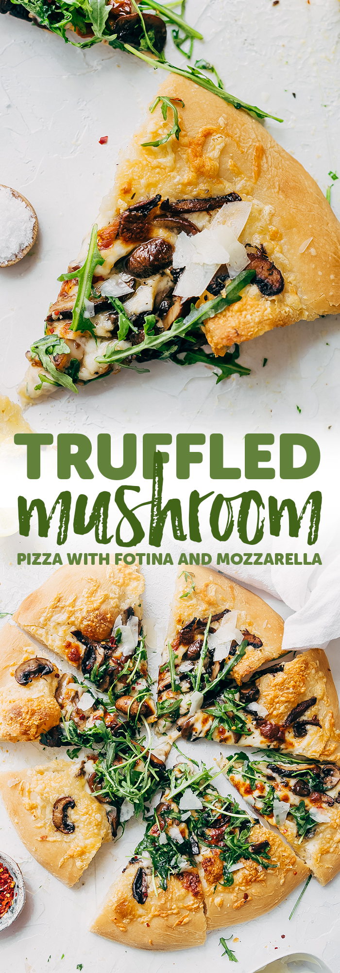 Truffled Mushroom Pizza - learn how to make a quick and easy truffled mushroom pizza! Topped with two kinds of cheese and it tastes like you ordered in from a fancy pizza shop! #pizzarecipe #mushroompizza #truffledmushroompizza #pizza | Littlespicejar.com