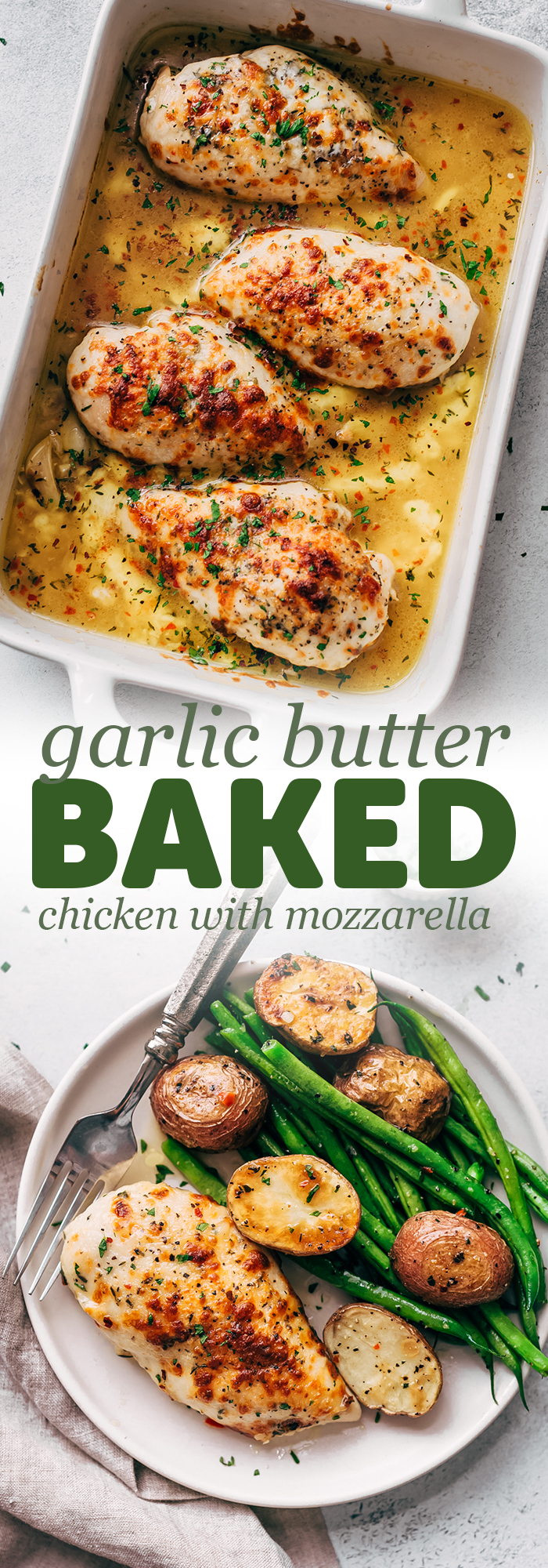 Baked Garlic Butter Chicken with Mozzarella - learn how to bake chicken breasts in a simple garlic butter sauce. Serve with just about anything you like! #garlicbutterchicken #bakedchicken #garlicbutterbakedchicken #chickenrecipes | Littlespicejar.com