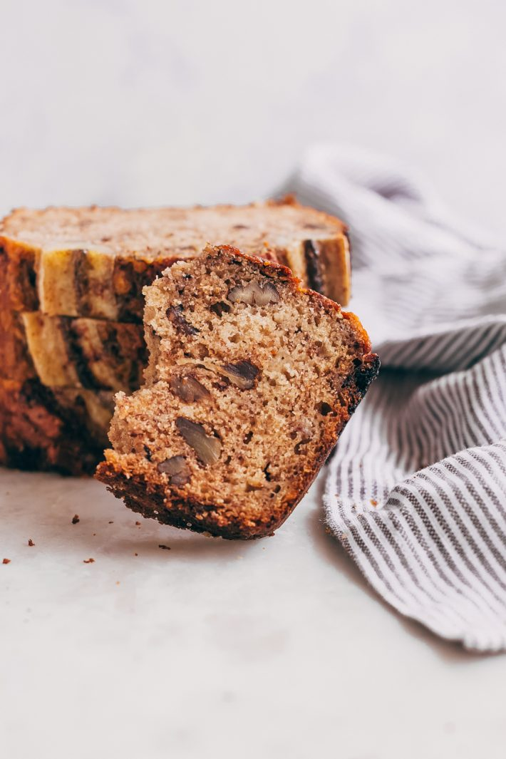 Brown Butter Maple Pecan Banana Bread - learn how to make a naturally sweetened, brown butter scented banana bread that's tender and delicious! The best way to use up ripe bananas! #maplepecanbananabread #bananabread #bread #baking #brownbutterbananabread | Littlespicejar.com
