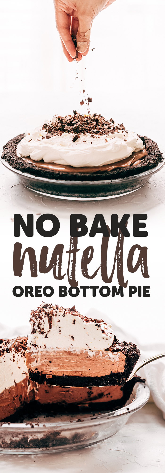 Easiest No Bake Nutella Pie - learn how to make the most delicious Nutella Pie and it only requires 10 minutes of hands on time! #nutellapie #dessertrecipes #nobakedesserts #nobakepie | Littlespicejar.com