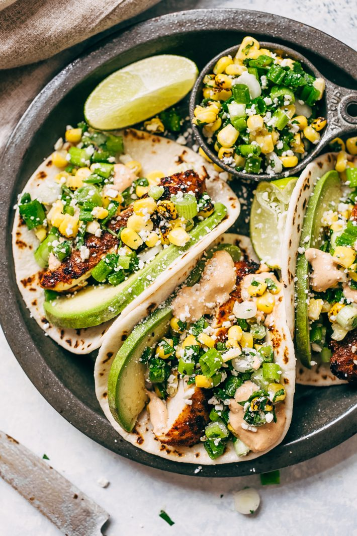 Mexican Street Corn Chicken Tacos - Mexican Street Corn Chicken Tacos! It's when esquites or street corn salad meets chicken tacos! These chipotle chicken tacos are loaded up with a simple roasted corn salad and topped with chipotle mayo! #streetcornchickentacos #tacos #tacotuesday #chickentacos #streettacos #streetcorntacos | Littlespicejar.com