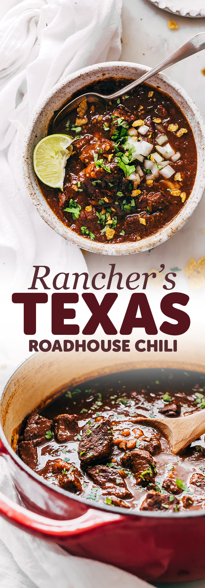 Rancher's Texas Chili (Chili con Carne) - Learn how to make texas chili or chili con carne! This is an easy recipe that uses chuck roast rather that ground beef and is so hearty and filling! #texaschili #chilirecipe #heartychili #homemadechili #chuckroastchili | Littlespicejar.com