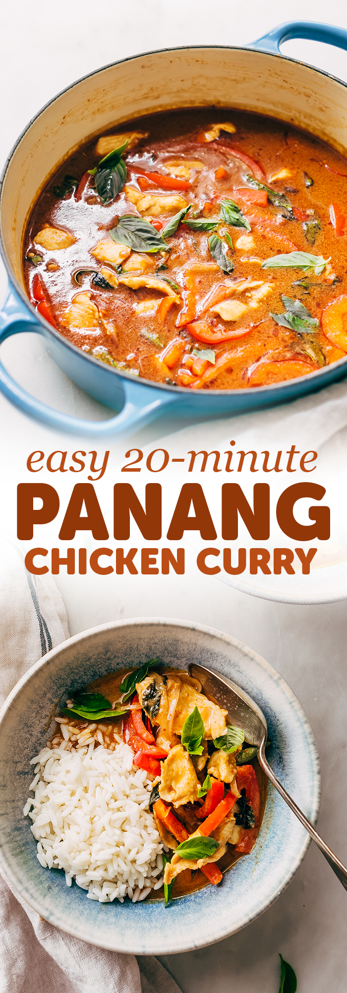 20 Minute Panang Chicken Curry - An easy recipe that you can throw together in 20 minutes and tastes better than takeout! #panangcurry #chickencurry #curry #dinnerrecipes   Littlespicejar.com