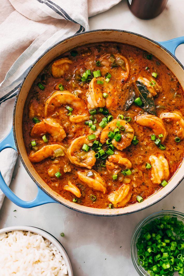 Cajun Shrimp Étouffée - learn how to make shrimp étouffée from scratch! It's hearty and delicious! #comfortfood #dinnerecipes #cajun #shrimpetouffee #etouffee | Littlespicejar.com