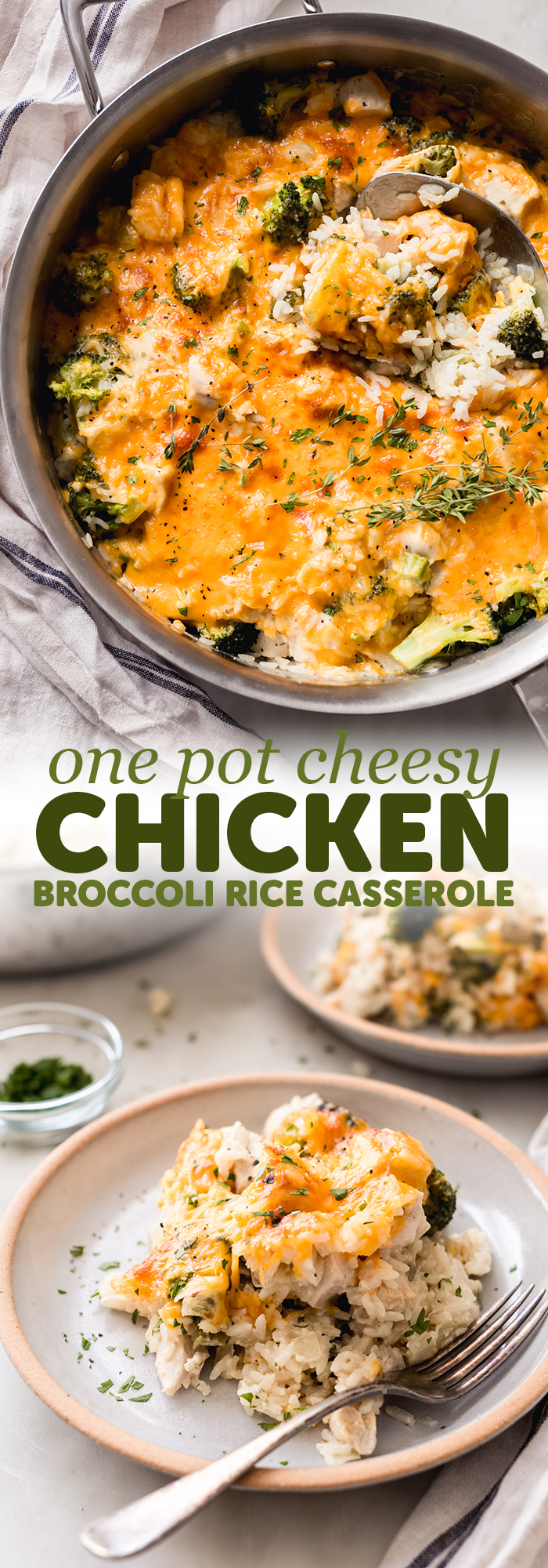 One Pot Cheesy Chicken Broccoli Rice Casserole - a quick and easy one pot weeknight dinner recipe! This is made completely from scratch and is so flavorful! #casserole #onepotrecipes #onepotrecipe #chickencasserole #broccoliricecasserole #casserole | Littlespicejar.com