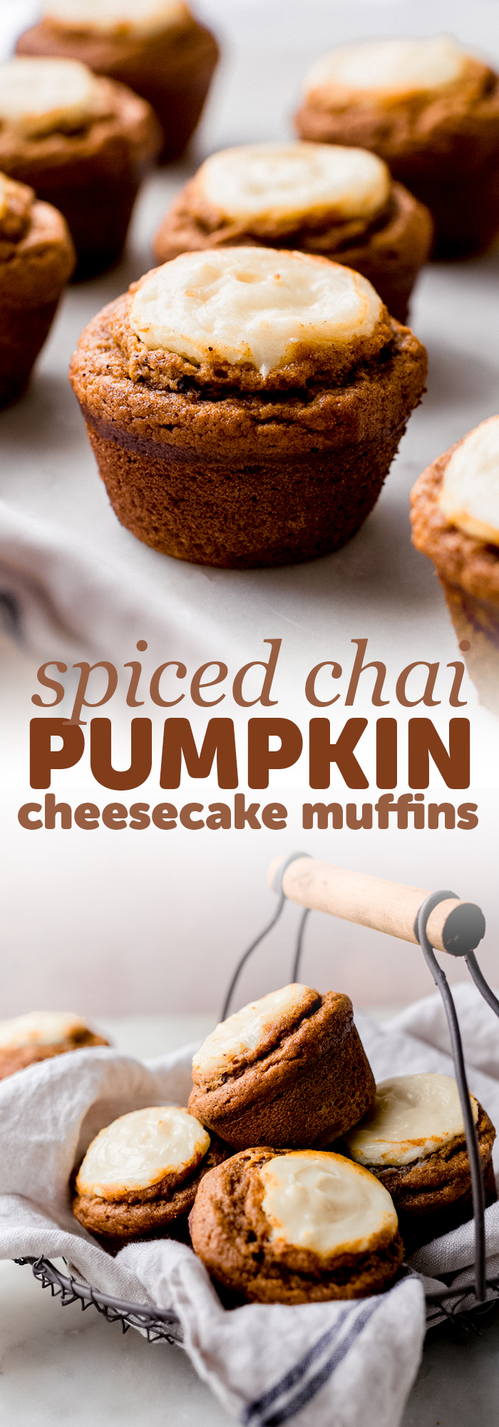 Spiced Chai Pumpkin Cheesecake Muffins - these are pumpkin muffins stuffed and topped with cheesecake batter! They're the perfect balance of sweet so they're perfect with a warm cup of coffee in the morning! #pumpkinmuffins #chai #pumpkincheesecakemuffins #spicedpumpkinmuffins #baking | Littlespicejar.com