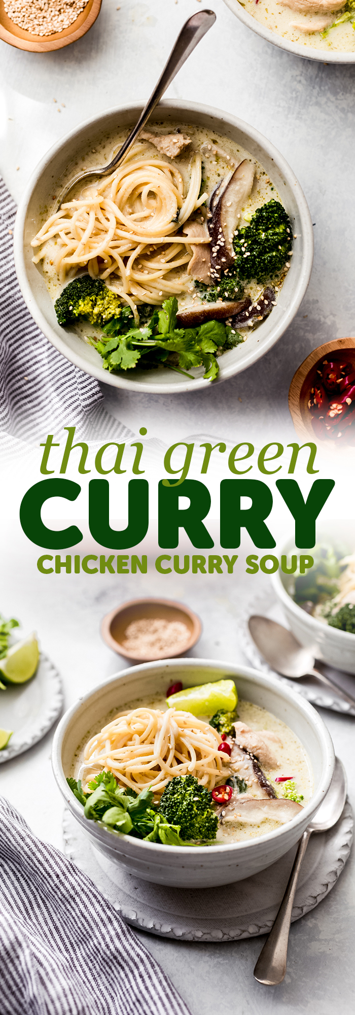 Thai Green Curry Chicken Soup - Learn how to make a 20 minute chicken curry soup that'll please the whole family! Tons of noodles, tender chicken, and creamy green curry soup! #thaigreencurry #greencurrysoup #greencurrychickensoup #chickensoup #chickencurrysoup #soup #comfortfood | Littlespicejar.com