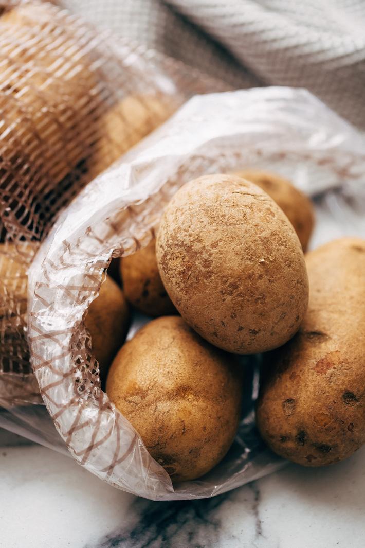 russet potatoes in plastic bag
