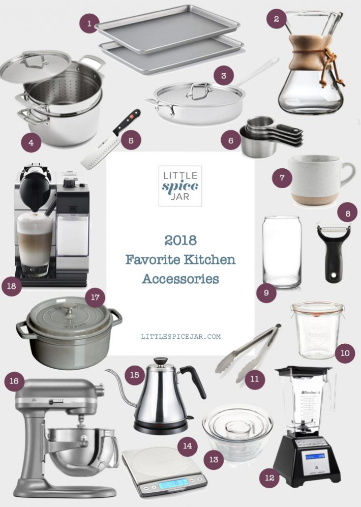 I've compiled all of my favorite kitchen accessories for 2018 into one easy gift guide! These are all the gadgets that I couldn't live without this year! #giftguide #kitchenaccessories #musthaves | Littlespicejar.com