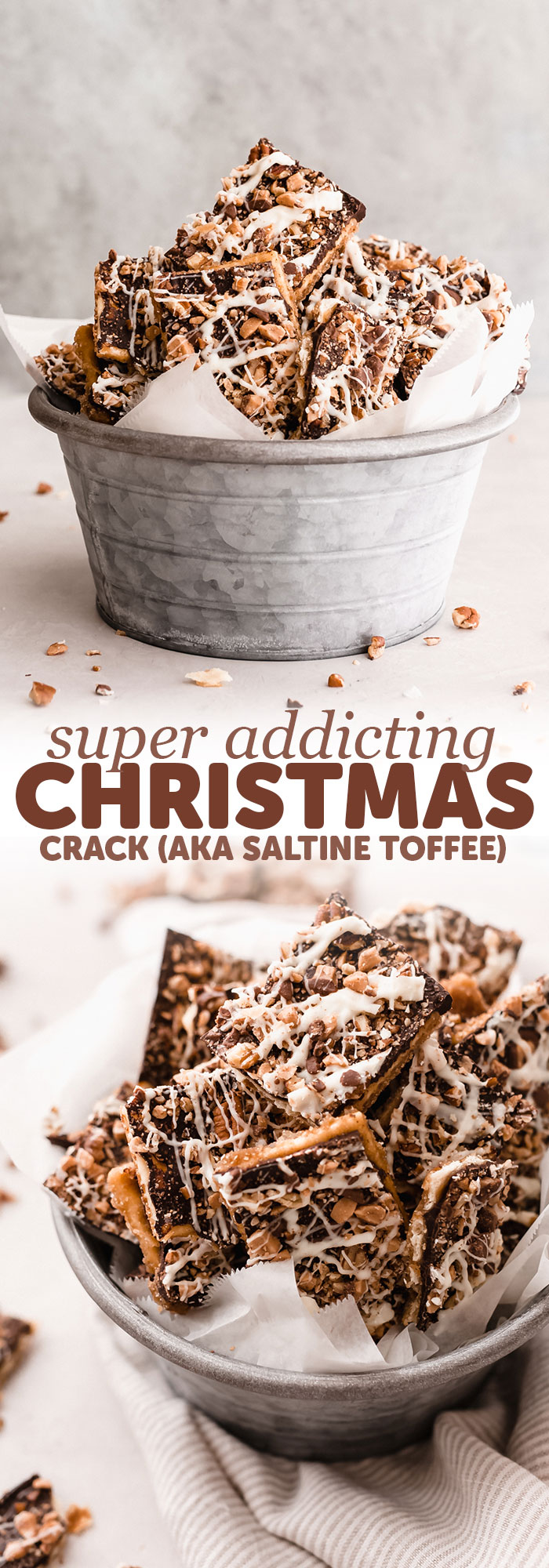 Addicting Christmas Crack (Saltine Toffee Bark) - Learn how to make a grown up version of the famous saltine toffee! I like to use ingredients that help cut through some of that sweetness. Guaranteed to be addicting! #saltinetoffee #saltinetoffeebark #christmasfood #christmascrack #holiday #toffeebark | Littlespicejar.com