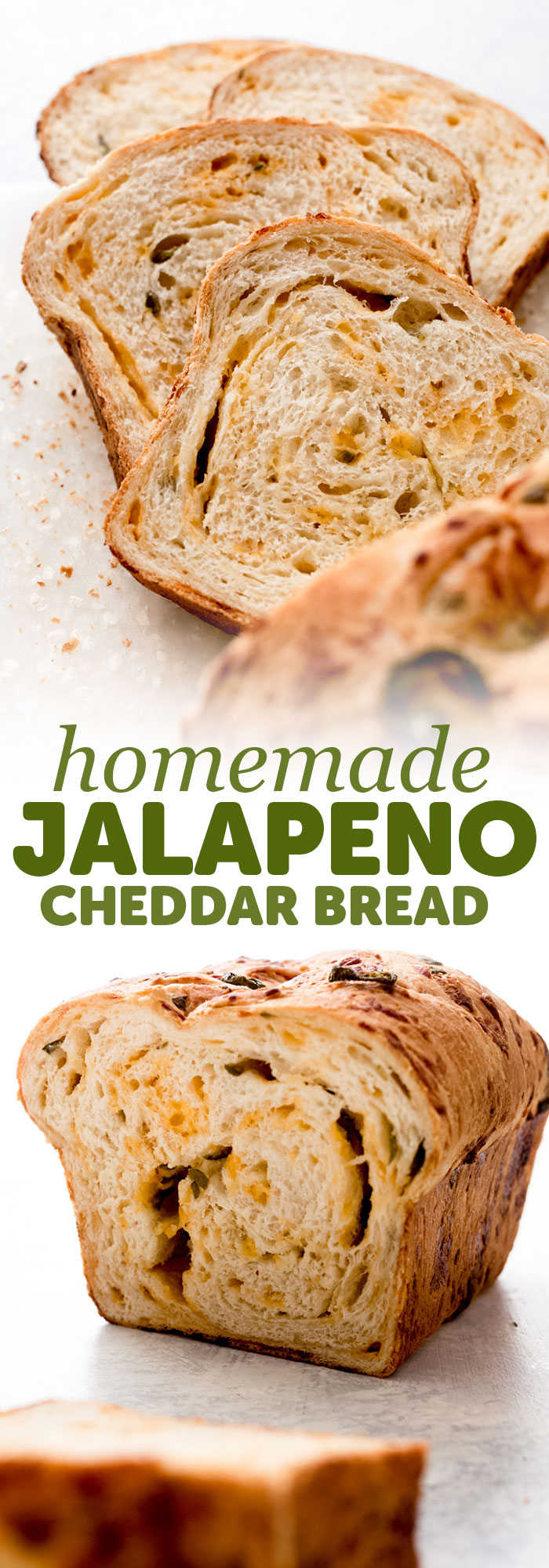 Homemade Jalapeño Cheddar Bread - learn how to turn everyday sandwich bread into something amazing! Use this to make grilled cheese sandwiches, serve with chili, or tomato soup, or make gourmet sandwiches! #cheddarcheesebread #cheesebread #jalapenocheddarbread #sandwichbread #breadrecipe | Littlespicejar.com
