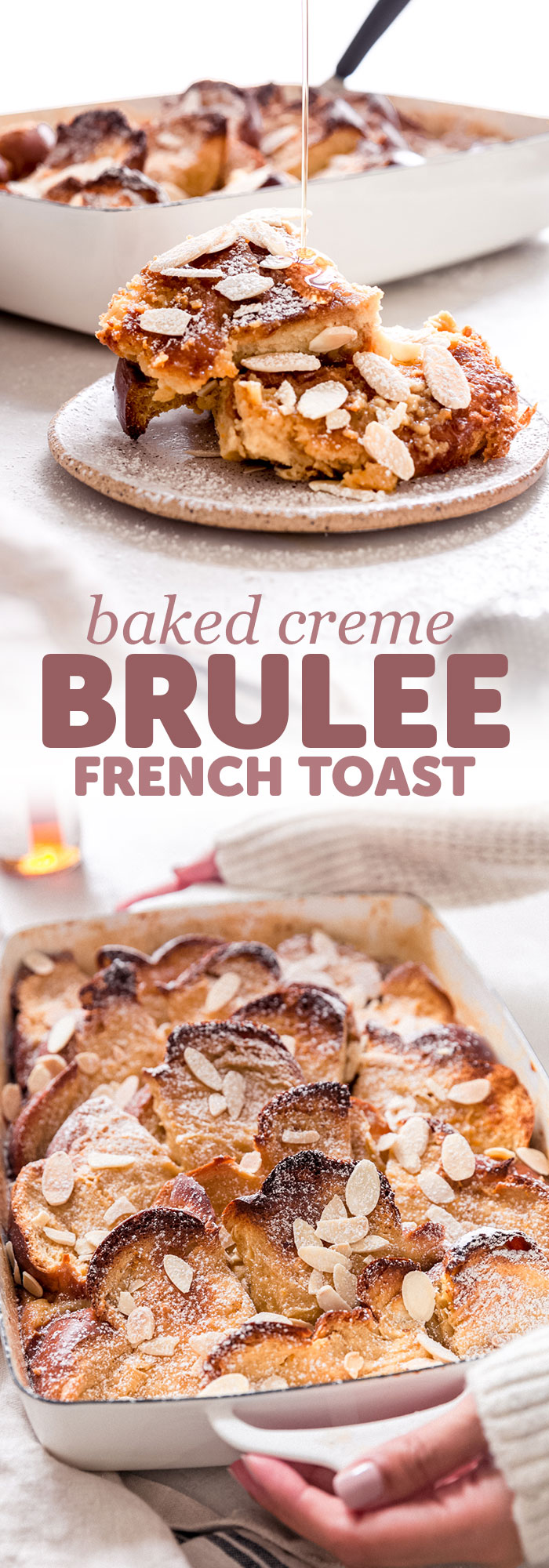 Baked Creme Brulee French Toast - The easiest baked creme brulee french toast recipe, and it feeds a crowd! The bottom is loaded with a caramel glaze, and the custard is rich and creamy! The best part is, you can make it ahead #cremebrulee #frenchtoast #bakedfrenchtoast #cremebruleefrenchtoast #frenchtoastcasserole | Littlespicejar.com