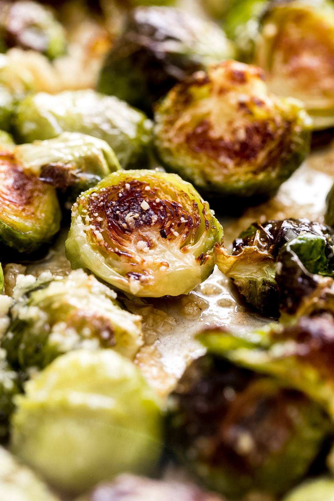 close up of roasted Brussel sprout halves dusted with grated parmesan