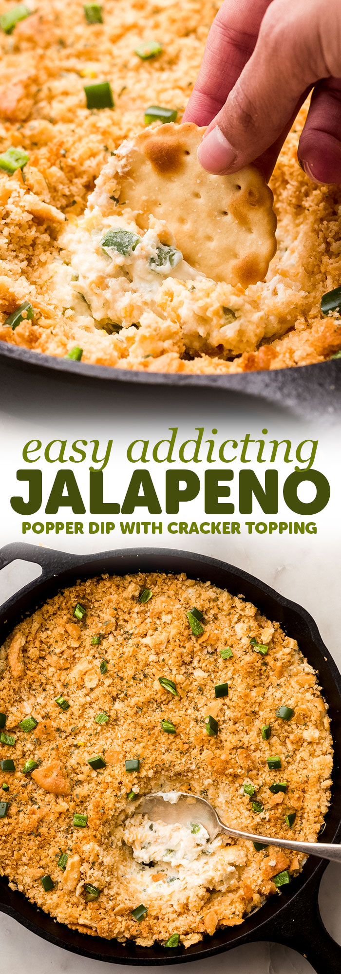 Addicting Jalapeno Popper Dip - My jalapeño popper dip is loaded with pickled and fresh jalapeños but doesn't bring a whole lot of heat, serve it with crackers or tortilla chips and watch the crowd go wild! #jalapenopopperdip #dip #superbowl #gameday #footballfood #holiday #dips | Littlespicejar.com