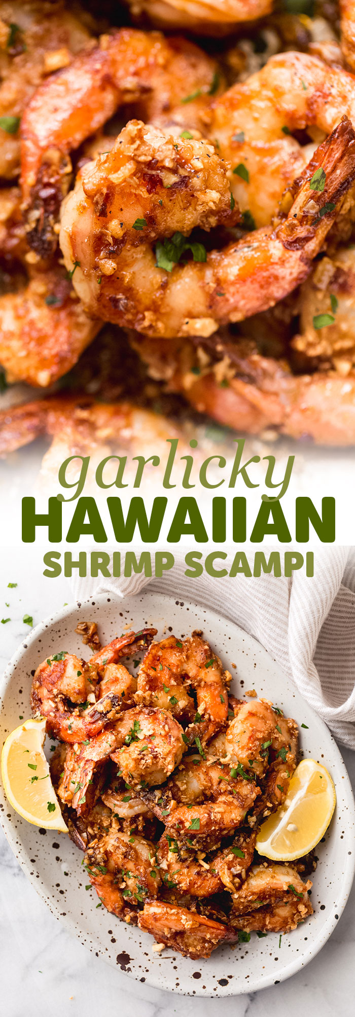 Garlicky Hawaiian Shrimp Scampi - a Hawaiian take on the garlic shrimp scampi! Loaded with so much umami flavor, these are sure to be a hit! #garlicshrimpscampi #shrimpscampi #garlicbuttershrimp #hawaiianshrimpscampi #hawaiianscampi #shrimp | Llittlespicejar.com
