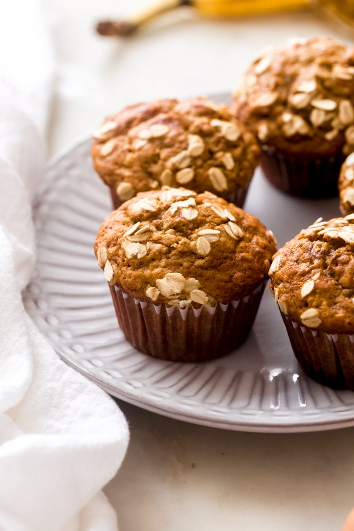 Healthy Maple Banana Nut Muffins - homemade banana nut muffins that are actually healthy for you! #maplebananamuffins #bananamuffins #banananutmuffins #healthy #baking | Littlespicejar.com