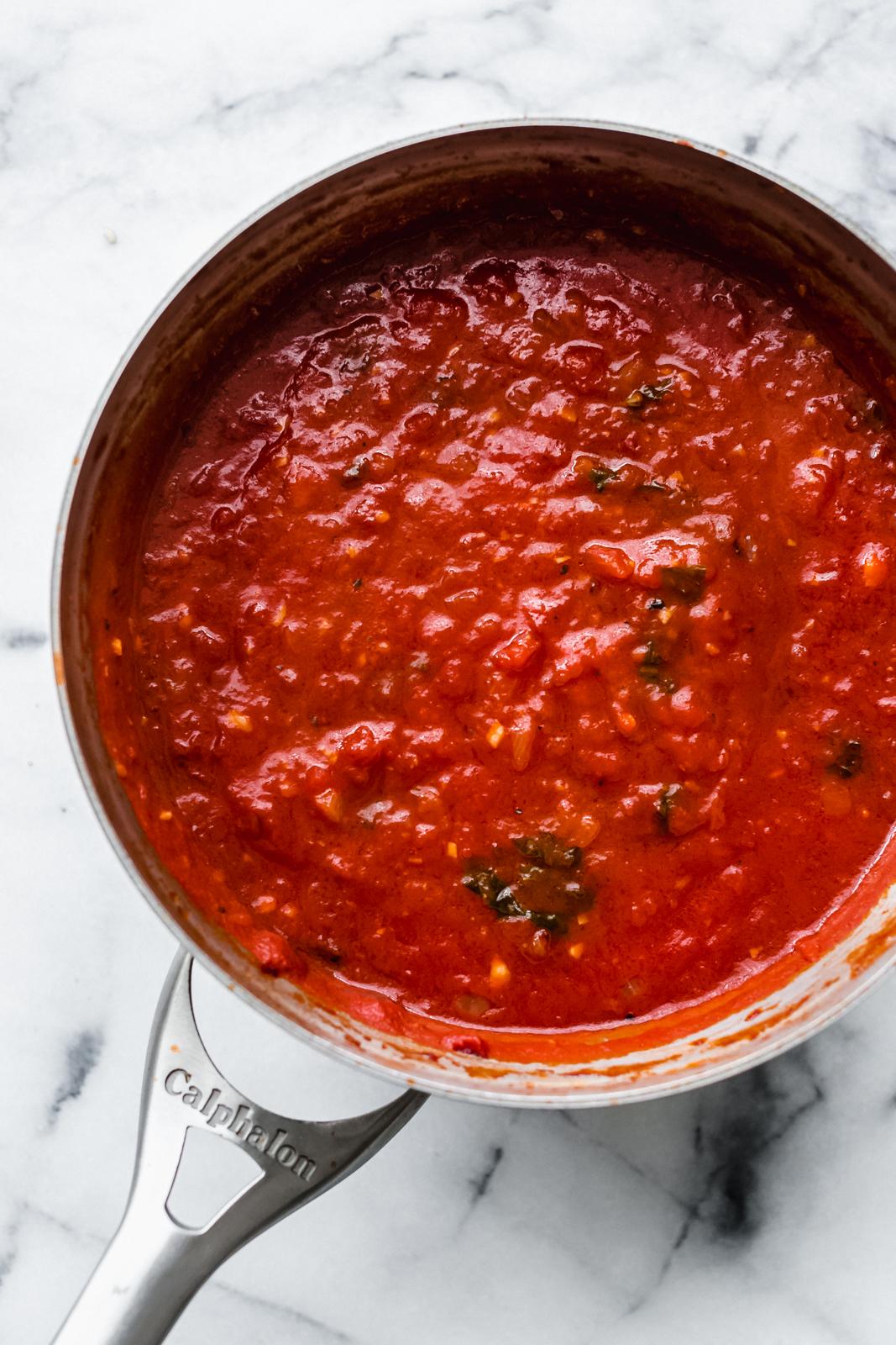 prepared arrabbiata sauce in sauce pot