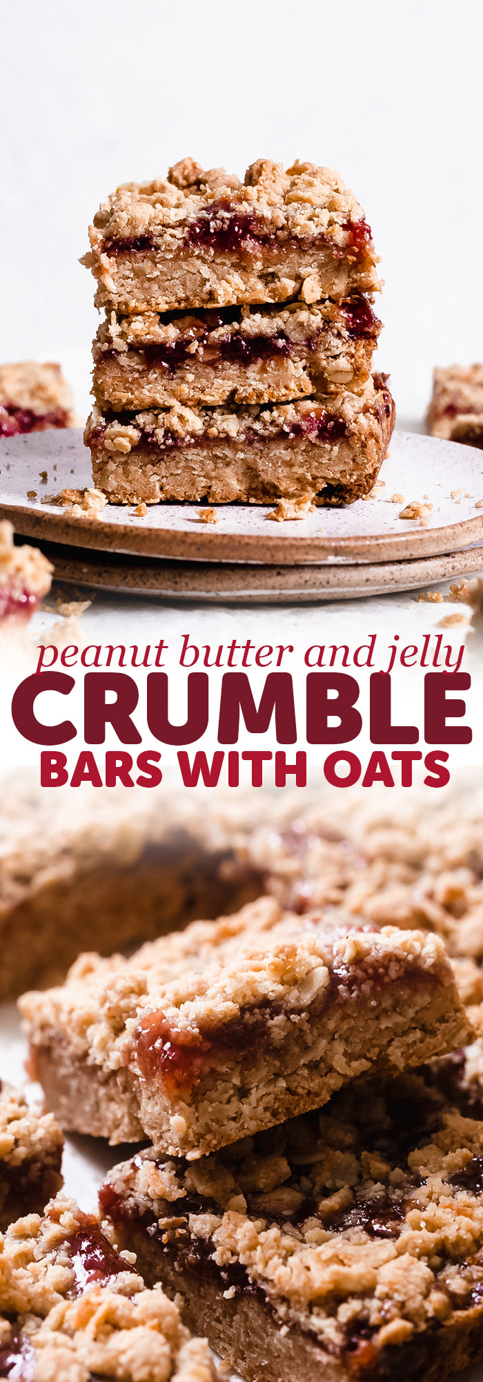 Peanut Butter and Jelly Oat Bars - A tender and buttery peanut butter laced oat crust, topped with your favorite jam and peanut butter and oat crumble. So yummy and so easy to prep! #crumblebars #peanutbutterbars #bars #oatmealbars #peanutbutterjelly #oatbars #oatcrumblebars | Littlespicejar.com