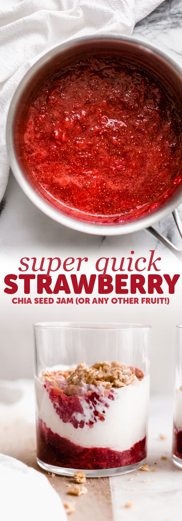 Super Quick Chia Seed Jam - Learn how to make homemade chia seed jam using all sorts of different fruit! This jam is much healthier than traditional jam and tastes great! #chiaseedjam #chiajaam #homemadejam #jamrecipe #chiaseedjamrecipe | Littlespicejar.com