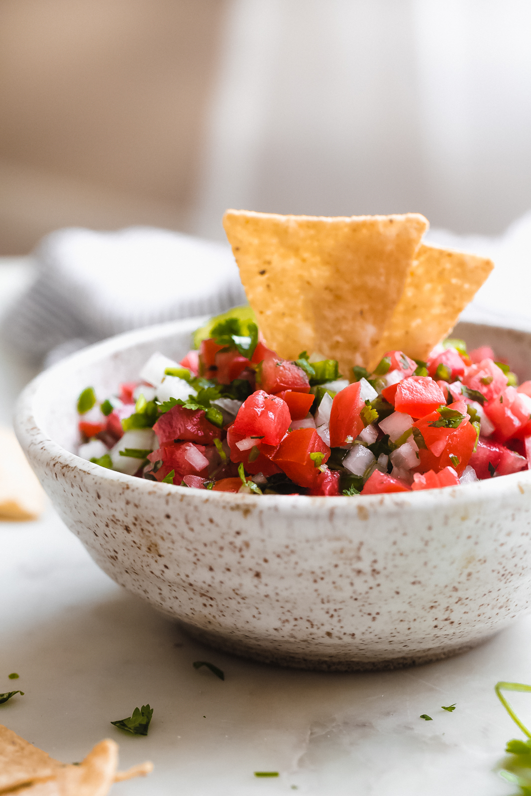 side view of speckled bowl of prepared pico with tortilla chips standing