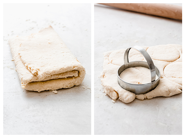 two pictures showing biscuit dough and one cutting the dough with cutter