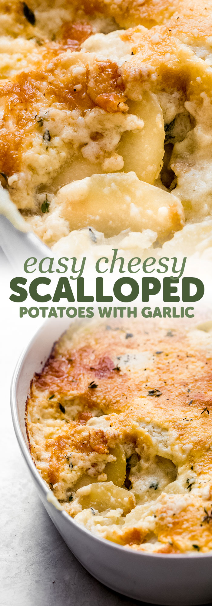Cheesy Scalloped Potatoes - Garlicky, cheesy scalloped potatoes! Scalloped potatoes are thinly sliced potatoes cooked in a casserole dish with melty cheese and a delicious garlic sauce! #scallopedpotatoes #potatoesaugratin #potatocasserole #cheesyscallopedpotatoes #bakedpotatoes #easterrecipes | Littlespicejar.com