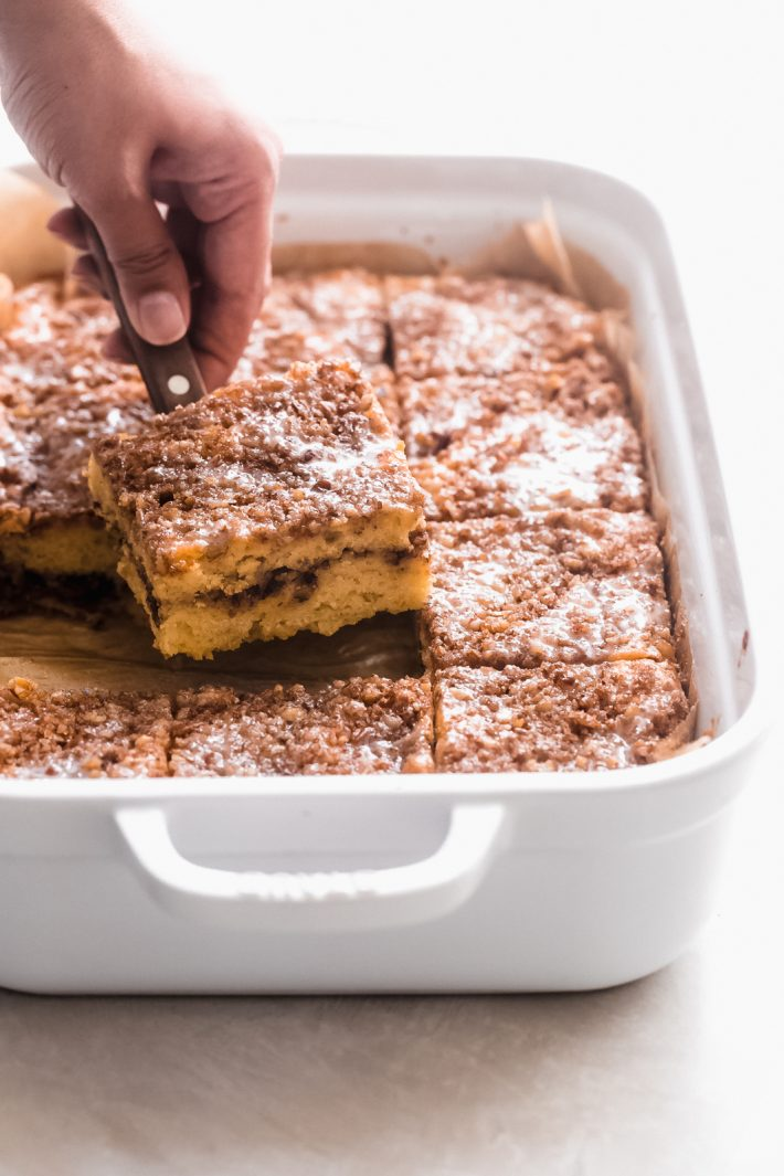 Old-Fashioned Sour Cream Coffee Cake - an easy coffee cake with a cinnamon pecan filling and topping! So good and so easy to make! #cinnamoncoffeecake #coffeecake #sourcreamcoffeecake #cake #dessertrecipes | Littlespicejar.com