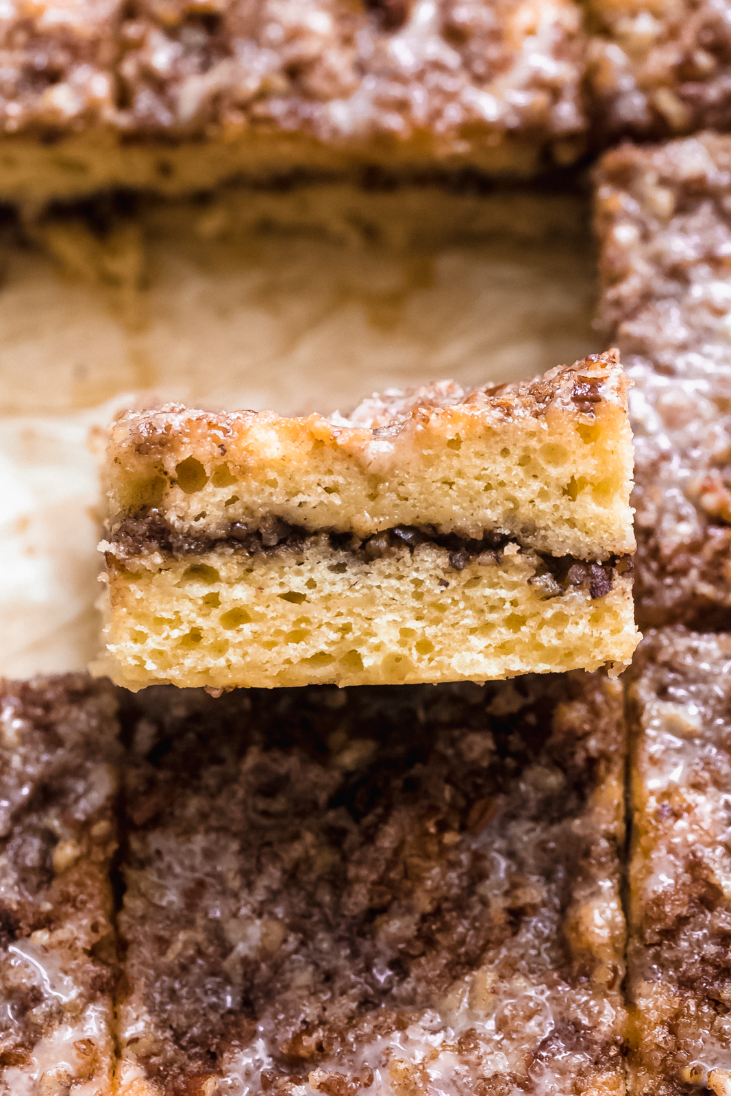 close up to show layers of coffee cake