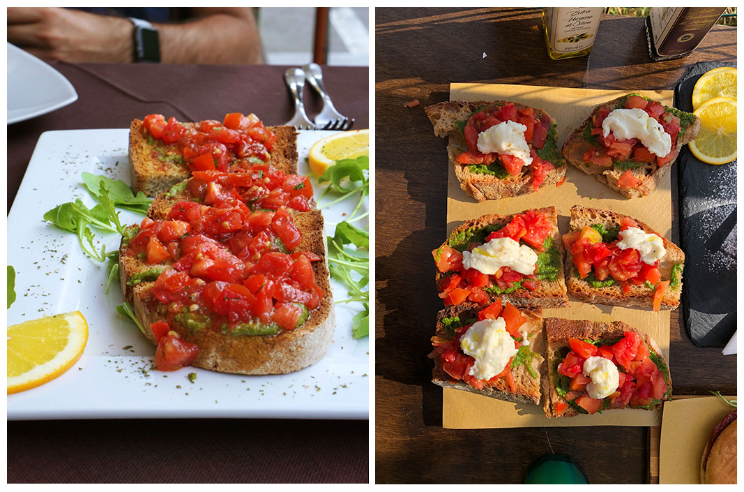side by side pictures of bruschetta we had in Italy