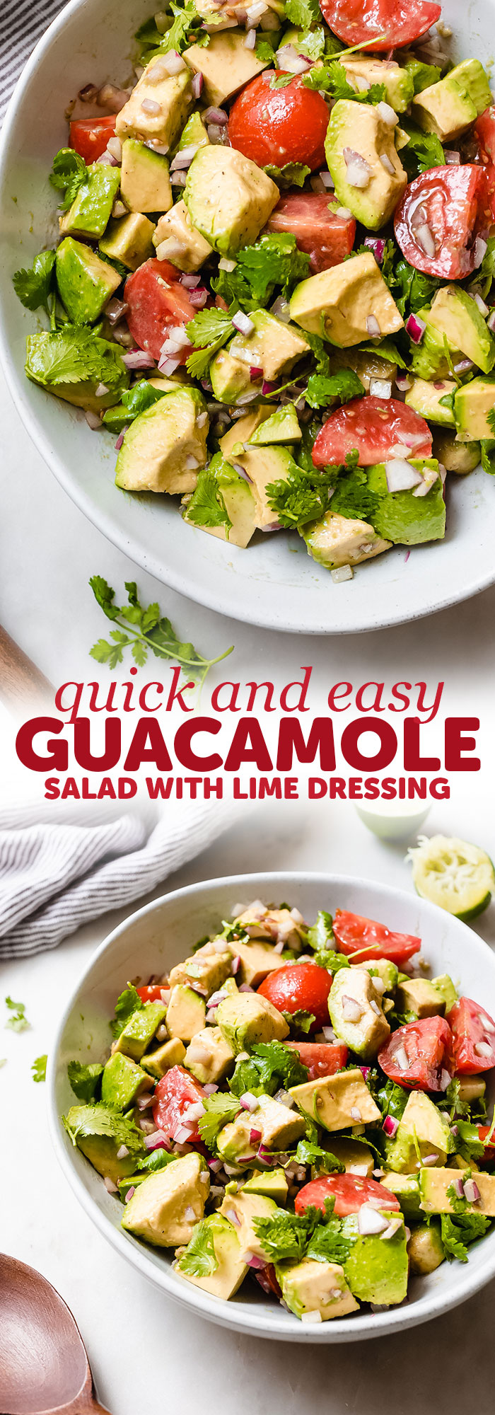 Easy Guacamole Salad - turn everyone's favorite dip into a salad! This avocado salad is sure to be a hit with everyone at potlucks, barbecues, or parties this summer! #summersalad #guacamole #guacamolesalad #deconstructedguacamolesalad #avocadosalad #tomatoavocadosalad | Littlespicejar.com
